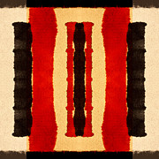 Bold Tapestries Textiles Prints - Red and Black Panel Number 2 Print by Carol Leigh