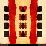 Bold Tapestries Textiles Prints - Red and Black Panel Number 3 Print by Carol Leigh