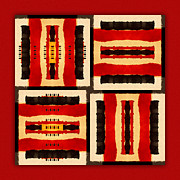 Bold Tapestries Textiles Prints - Red and Black Panel Number 5 Print by Carol Leigh