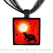 Red Leaves Jewelry - Red and Black Pendant by Laura Iverson