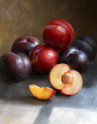 Still Life Paintings - Red and Black Plums by Robert Papp