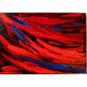 Artist Trading Cards Art - Red and Blue An Original Acrylic CEO Painting by Eleanor Gilpatrick
