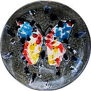 Butterfly Ceramics - Red and Blue Butterfly by Victor Delgado