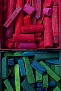 Material Life Framed Prints - Red and blue chalk Framed Print by Garry Gay