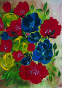 Sima Amid Wewetzer - Red and Blue flowers