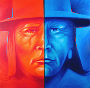 American Indian Art Mixed Media Originals - Red and Blue by Robert Martinez