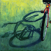 Linda Apple Posters - Red and Green - bike art Poster by Linda Apple