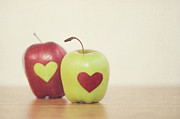 Apple Art Posters - Red And Green Apple With Heart Shape Poster by Maria Kallin