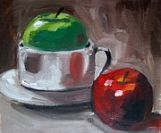 Indoor Still Life Painting Posters - Red And Green Apples Poster by Samantha Black