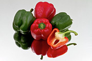 Food And Beverage Prints - Red and green bell peppers on reflective bacground Print by Gert Lavsen