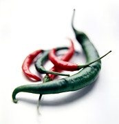 Chillies Posters - Red And Green Chilli Peppers Poster by David Munns