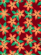 Green Color Digital Art - Red And Green Flowers On A Red Background by Lana Sundman
