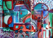 Line Mixed Media - Red and Green Jazz by Mindy Newman