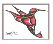 Speakthunder Berry Posters - Red And Oj Humming Bird Poster by Speakthunder Berry