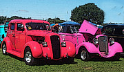 Pink Hot Rod Photos - Red and pink hot rods by Linda Anne Gibson