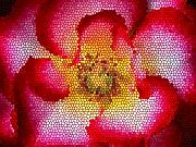 Flower Digital Art Metal Prints - Red and White and Glass Metal Print by Leonard Rosenfield