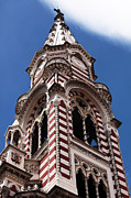 Latin America Photos - Red and White Church in Bogota by John Rizzuto