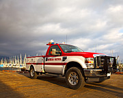 Law Enforcement Prints - Red and White Harbor Patrol Vehicle Print by David Buffington