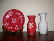 Decor Ceramics - Red And White by Monika Hood
