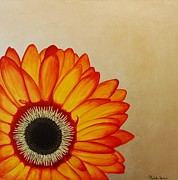 Silver Leaf Paintings - Red and Yellow Gerbera Daisy on Silver Leaf by Michele Harps