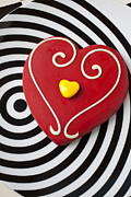 Sweet Spot Prints - Red and Yellow Heart Print by Garry Gay