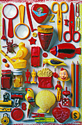 Shell Sign Art - Red and yellow objects by Garry Gay