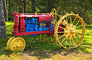 Antique Tractor Posters - Red and yellow tractor Poster by Garry Gay