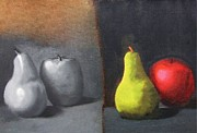 Kiwi Painting Originals - Red Apple Pears and Pepper in Color and Monochrome Black White Oil Food Kitchen Restaurant Chef Art by M Zimmerman MendyZ