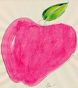 Food And Beverage Mixed Media Posters - Red Apple Single Line Drawing Two Poster by Jerry Hanks