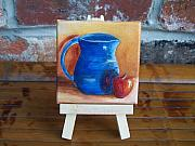 Pottery Pitcher Originals - Red Apple with Blue Vase Miniature with Easel SOLD by Susan Dehlinger