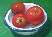 Fashioned Pastels Posters - Red Apples in Enamel Bowl 2 Poster by Joyce Geleynse
