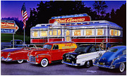Trolley Car Posters - Red Arrow Diner Poster by Bruce Kaiser