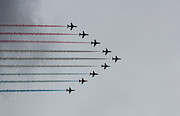 Colored Smoke Posters - Red Arrows horizontal Poster by Jasna Buncic