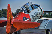 Airplane Radial Engine Photos - Red AT-6 by Steven Richardson