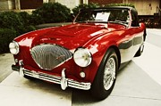 Austin Digital Art Posters - Red Austin Healy Poster by Cathie Tyler