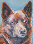 Kelpie Art Prints - red Australian Kelpie Print by Lee Ann Shepard