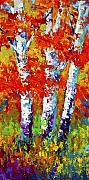 Birch Painting Acrylic Prints - Red Autumn Acrylic Print by Marion Rose