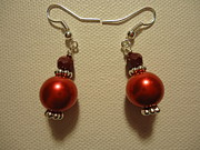 Silver Earrings Jewelry Metal Prints - Red Ball Drop Earrings Metal Print by Jenna Green