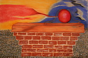 Blue Brick Pastels Prints - Red Ball Print by Jeffrey Brown