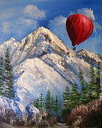 Hot Air Balloon Painting Posters - Red Balloon  Poster by Crispin  Delgado