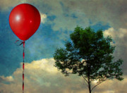 Surrealistic Framed Prints - Red Balloon Framed Print by Jessica Brawley