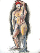 Figure Study Pastels Prints - Red Bandana Print by Gabrielle Wilson-Sealy
