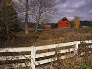 Indiana Autumn Framed Prints - Red Barn - FM000066 Framed Print by Daniel Dempster