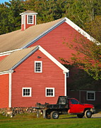Red Barn. New England Prints - Red Barn - Red Truck Print by Mary McAvoy