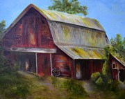 Old Barn Paintings - Red Barn 2 by Claire Bull