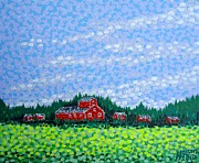 Pointillist Originals - Red Barn by Alan Hogan