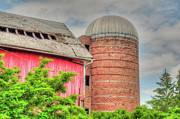Chicagoland Posters - Red Barn and Brick Silo Poster by Deborah Smolinske