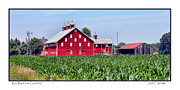 Ohio Red Framed Prints - Red Barn and Cornfield Framed Print by Jack Schultz