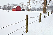 Shed Digital Art Metal Prints - Red Barn and Fresh Snow - D006392a Metal Print by Daniel Dempster