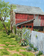 Margie Perry - Red Barn and Gray Fence